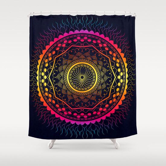 Psychedelic Shower Curtain Boho Shower Curtain Mandala Bathroom