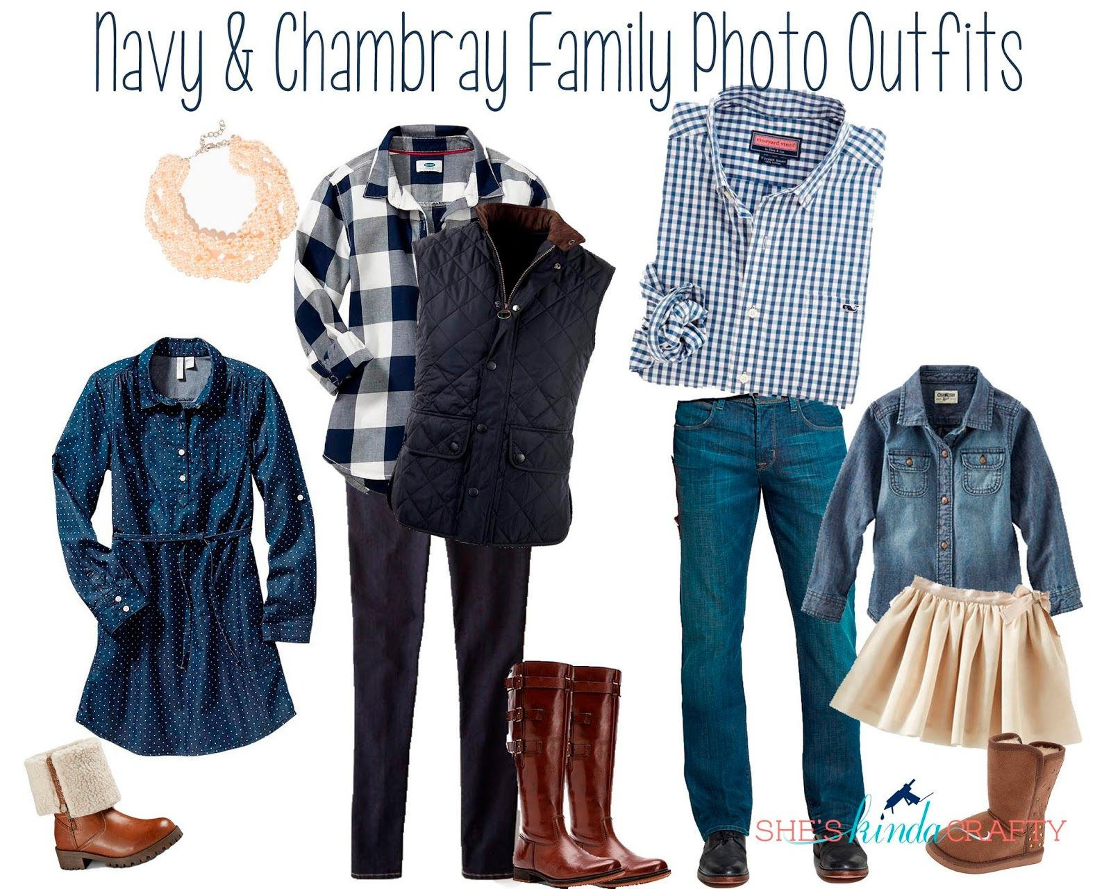 Family Photos What to Wear | Navy and Chambray Family Photo Outfits #winterfamilyphotography