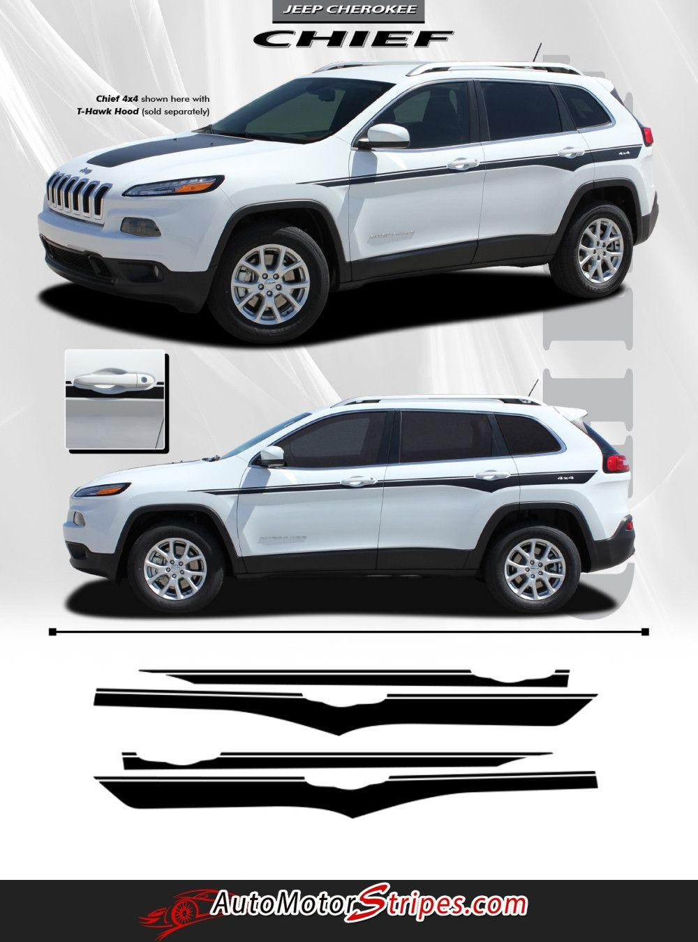 2014 2016 Jeep Cherokee Chief Mid Body Line Accent Vinyl Decal