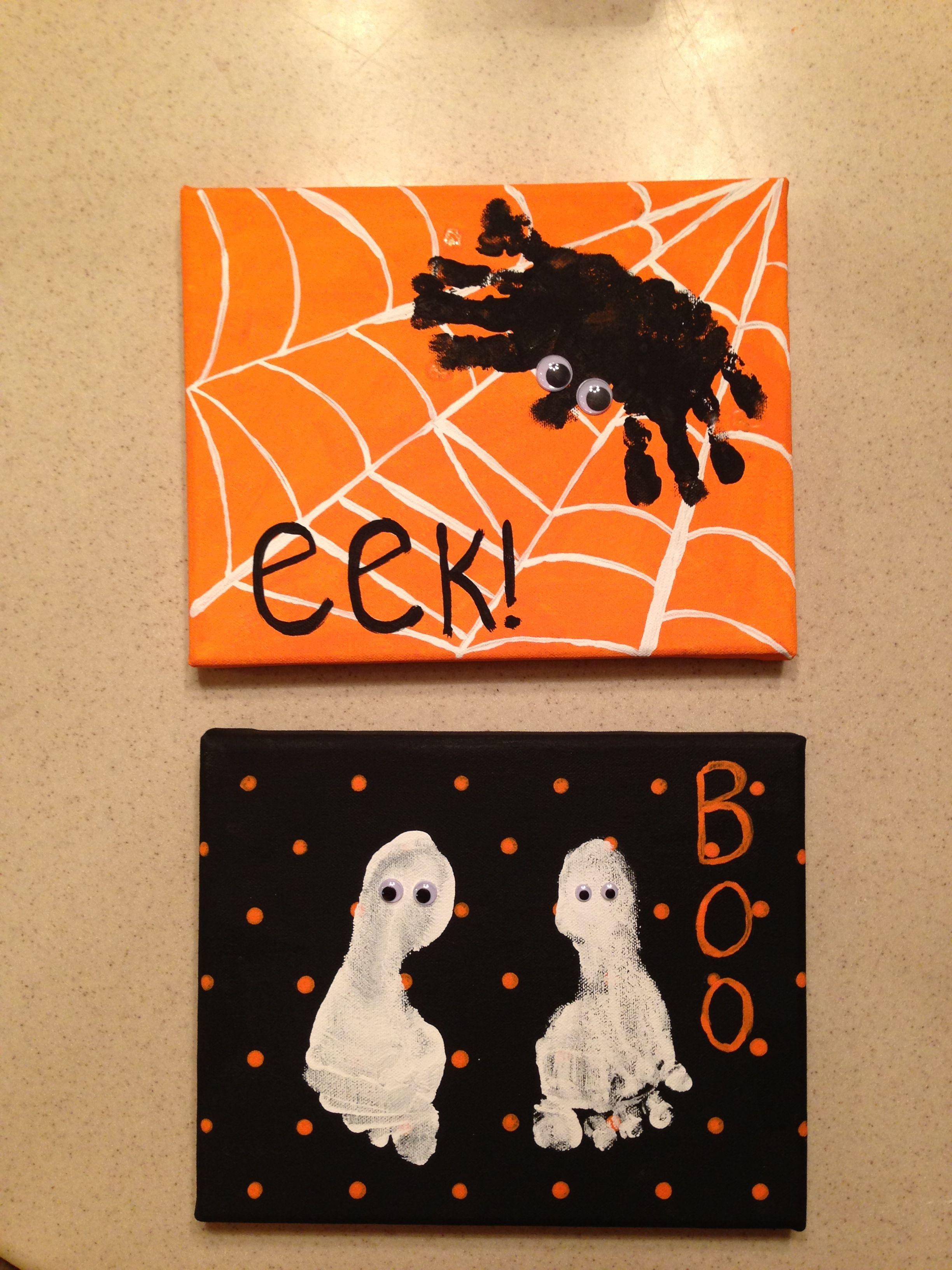 Halloween hand/footprint canvases Halloween diy crafts