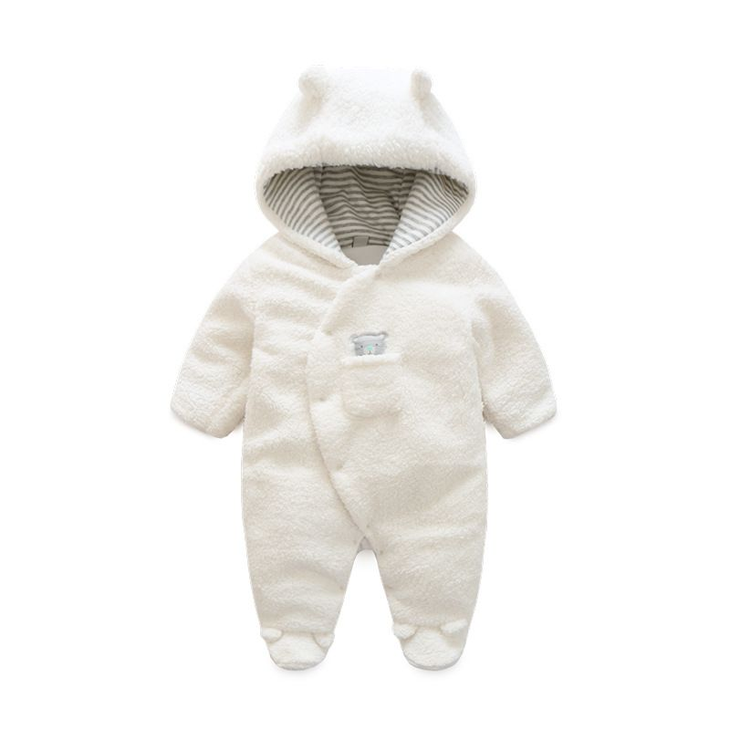f6a6a8a7f27b5 Newborn Baby Clothes Bear Onesie Baby Girl Boy Rompers Hooded Plush  Jumpsuit Winter Overalls For Kids