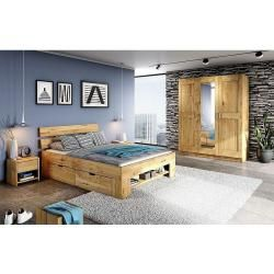Photo of Elfo futon bed Sofie with bed boxes and foot section shelf, 180×200 cm, wild oak solid Elfo