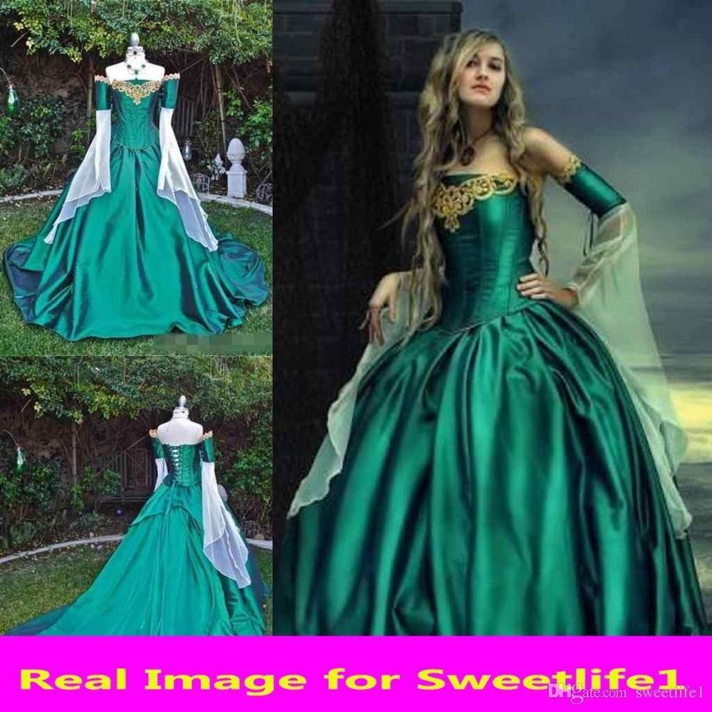 Vintage Medieval Renaissance Ball Gown Evening Princess Dresses Prom ...