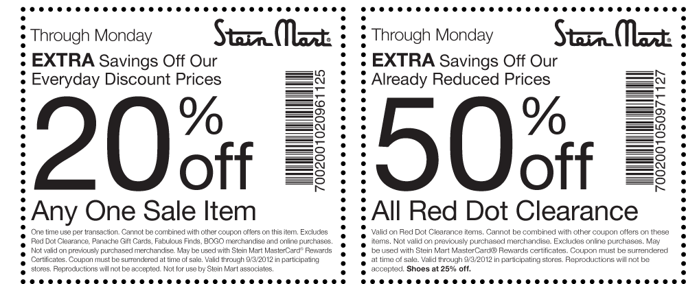 graphic about Stein Mart Printable Coupon known as 50% off pink dot clearance and added at Stein Mart coupon by