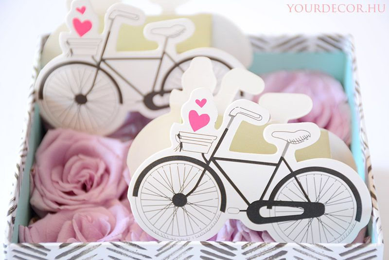 Vintage biciklis, esküvői köszönetajándék, köszönőajándék, vendégajándék, ajándékdoboz
