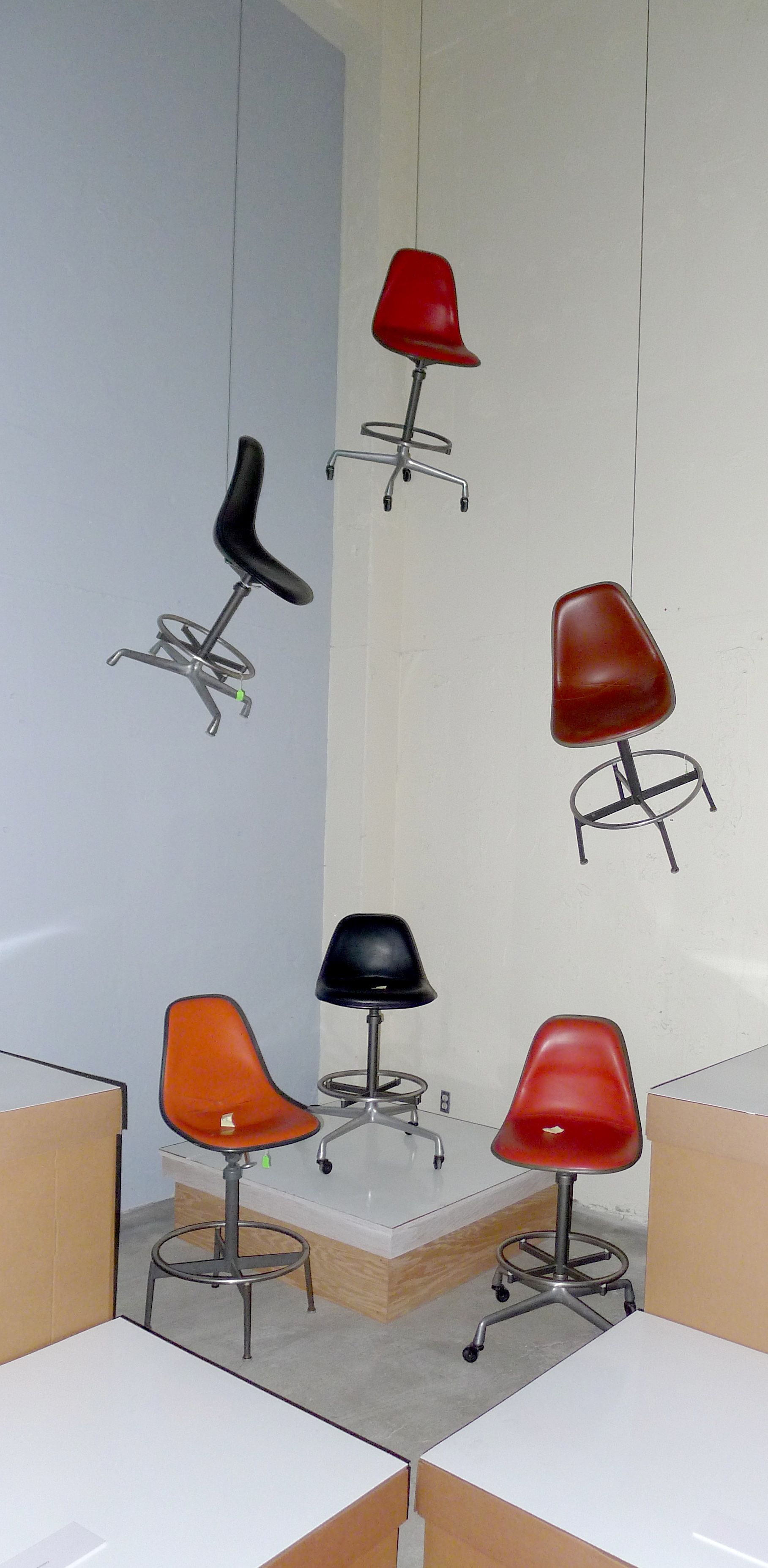 Several vintage #Eames drafting chairs in an interesting array as the 2011 GETTY PACIFIC STANDARD TIME  COLLECTING EAMES  SHOW was about to open & Collecting Eames exhibition | Pinterest | Drafting chair and Eames ...