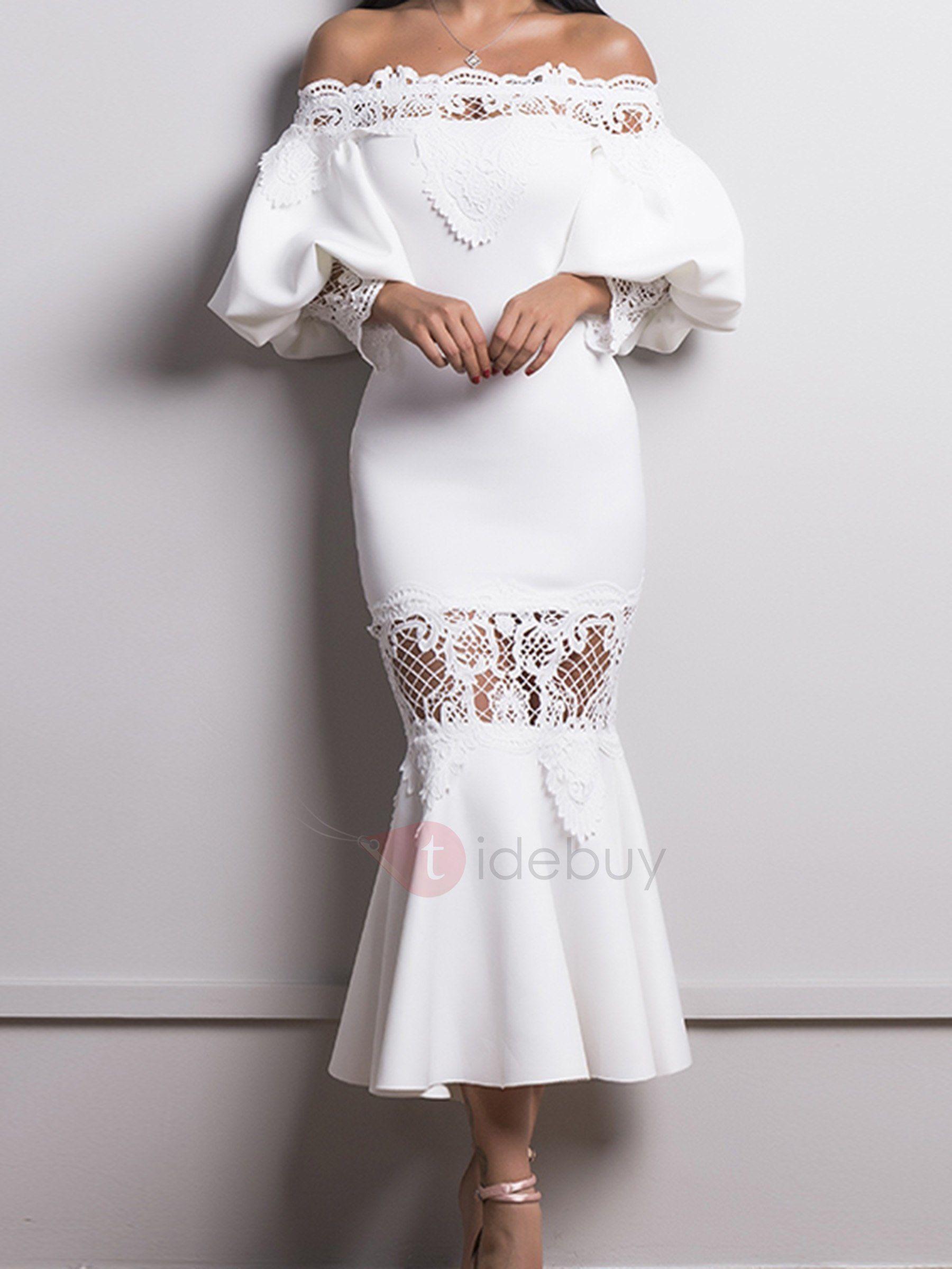 Black lace dress for summer wedding  Slash Neck Mermaid Backless Womenus Bodycon Dress  Fall u Winter