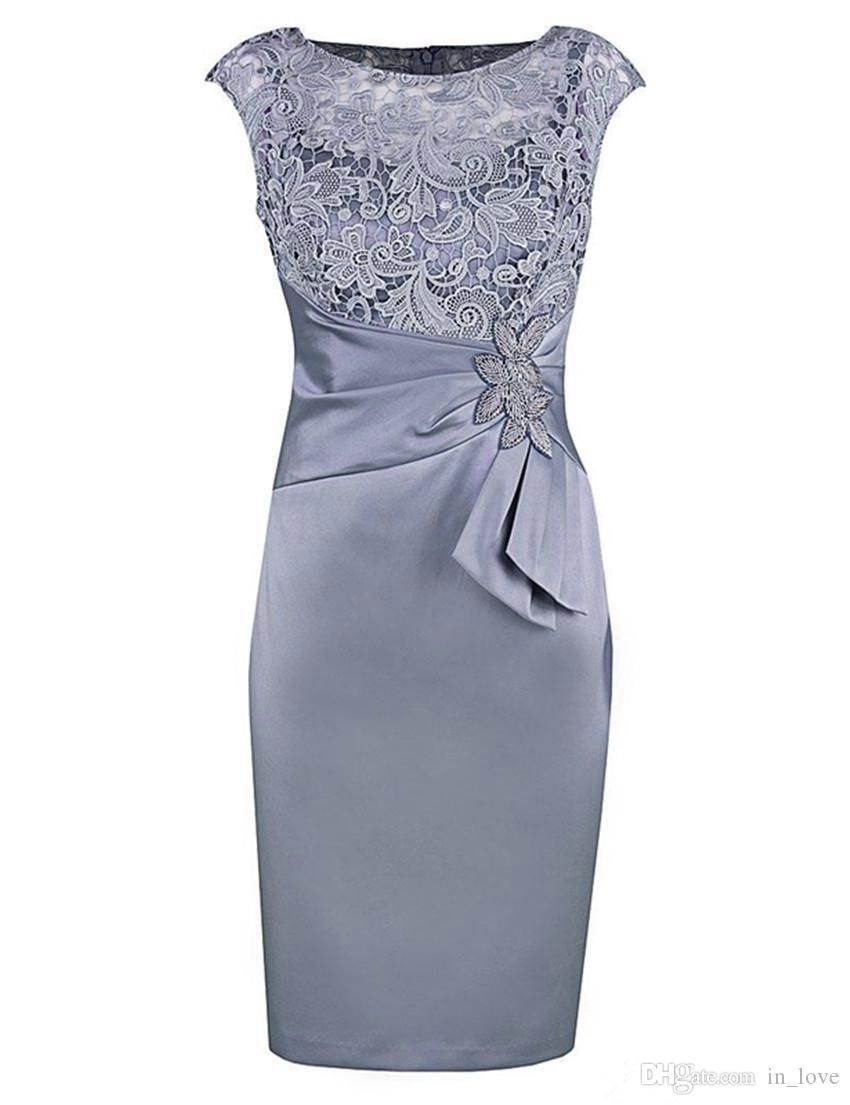 Graceful Silver Short Mother Of The Bride Dresses With 3 4 Sleeves