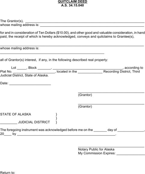 Alaska Quitclaim Deed Form  TemplatesForms