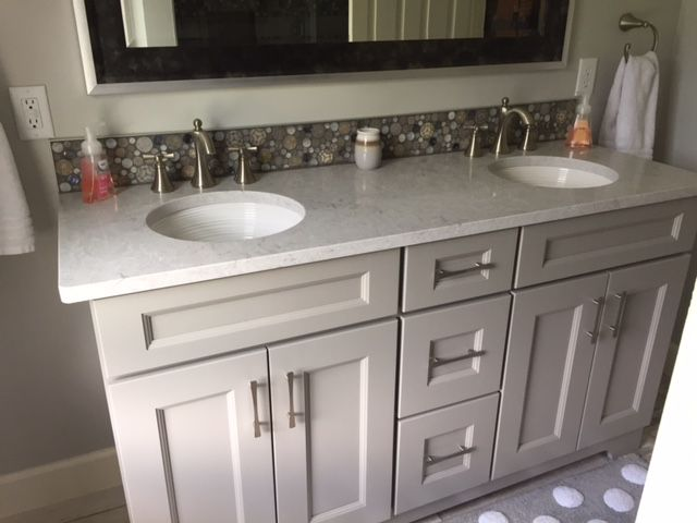 Double Bowl Vanity With Transitional Yorktowne Door Style Called Rochelle Using A Harbo Kitchen Cabinets In Bathroom Kitchen Cabinets Showroom Kitchen Cabinets