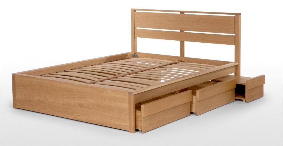 Luka King Size Storage Bed, Oak | Bases de cama y Camas
