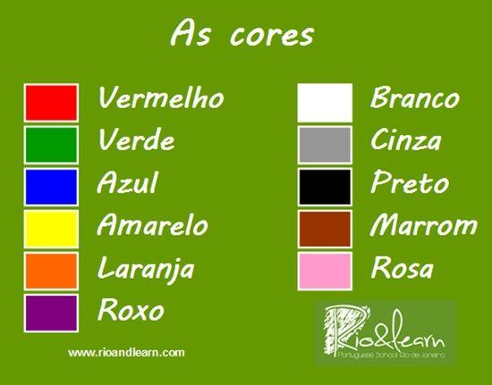As Cores Em Portugues Buscar Con Google Portugues Basico Aprender Portugues Aula De Português