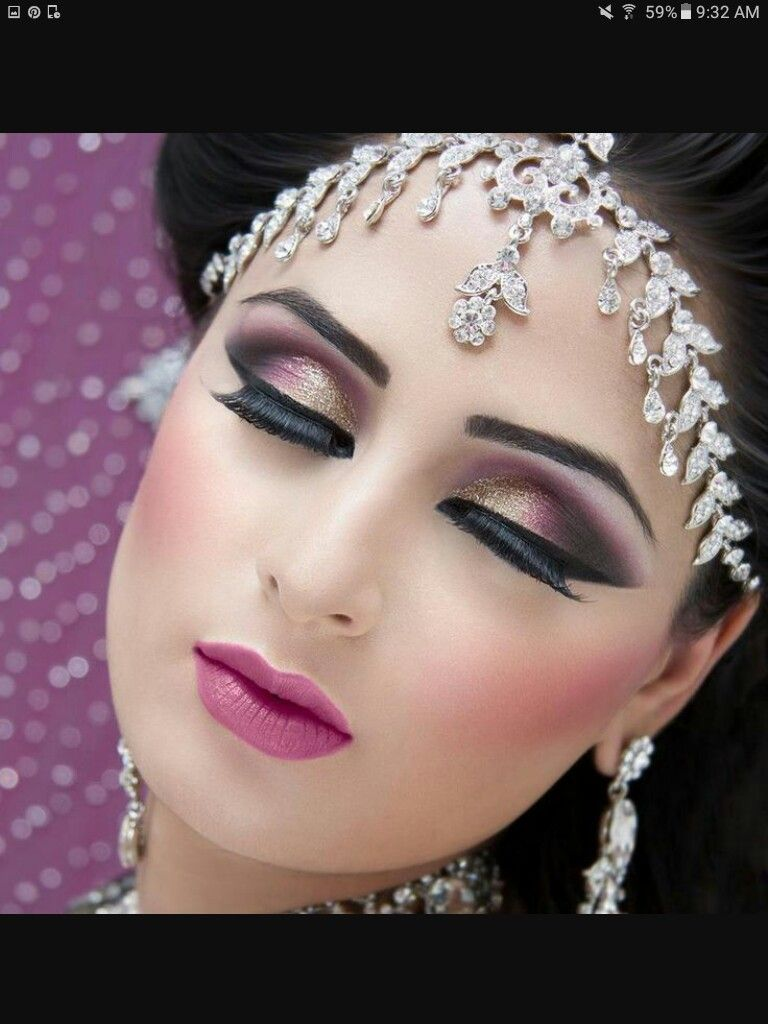 Worst makeup mistakes on your wedding indian bridal diaries - Desi Bridal Wedding Makeup Done By Amazing Makeup Artist Perfect Gold Smokey Eye And Matching Jewelry Headpiece