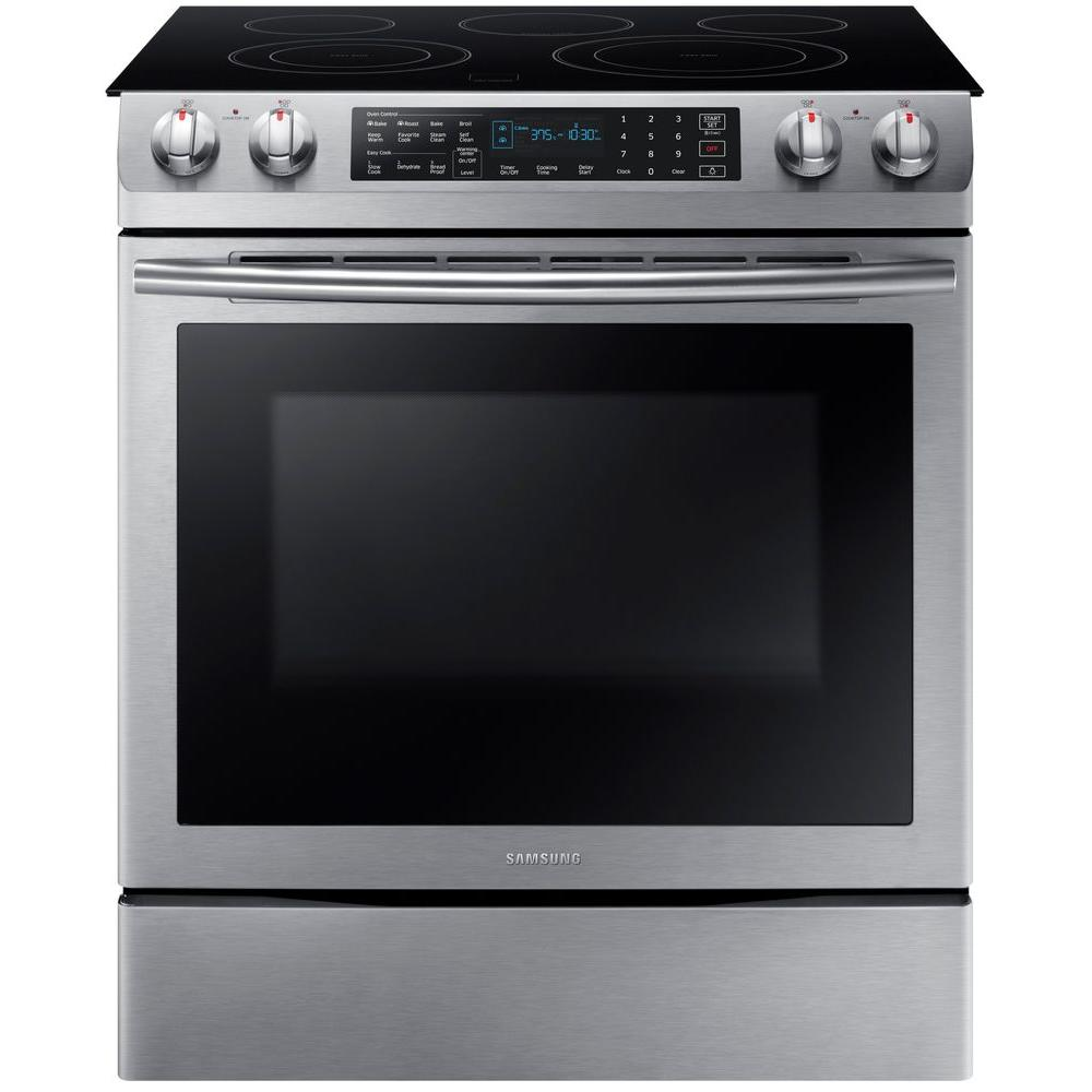 Samsung 5 8 Cu Ft Slide In Electric Range With Self Cleaning Dual Convection Oven In Stainless Steel Ne58k9430ss Slide In Range Samsung Electric Range Electric Range