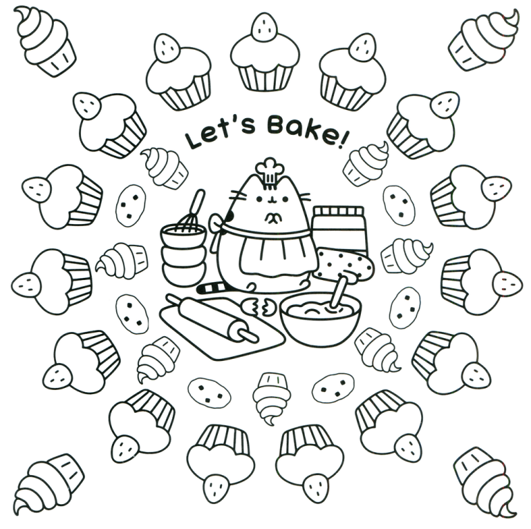 Oh So Cute Kitty Pusheen The Cat Coloring Pages For Girls