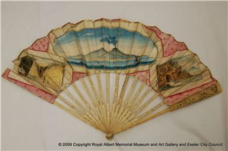 This fan has sticks of ivory with a painted paper leaf. It shows three scenes of Naples, with the central scene showing the Bay of Naples and Mount Vesuvius erupting. Given the subject, it was probably brought back to England as souvenir of the Grand Tour.  Royal Albert Memorial Museum & Art Gallery