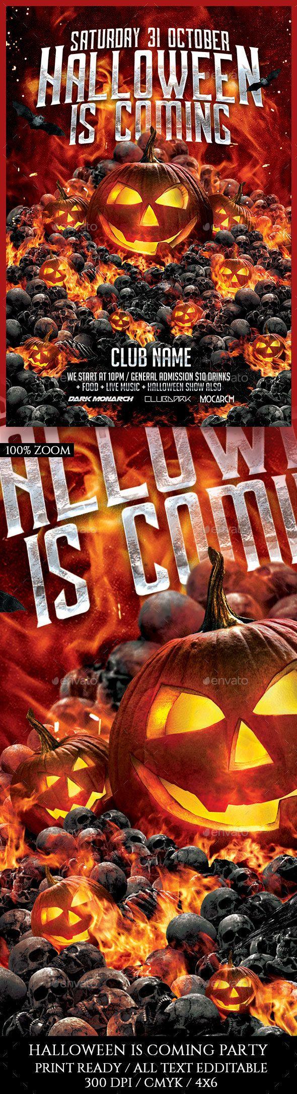 Halloween Is Coming Flyer Template PSD. Download here: https://graphicriver.net/item/halloween-is-coming/17619390?ref=ksioks