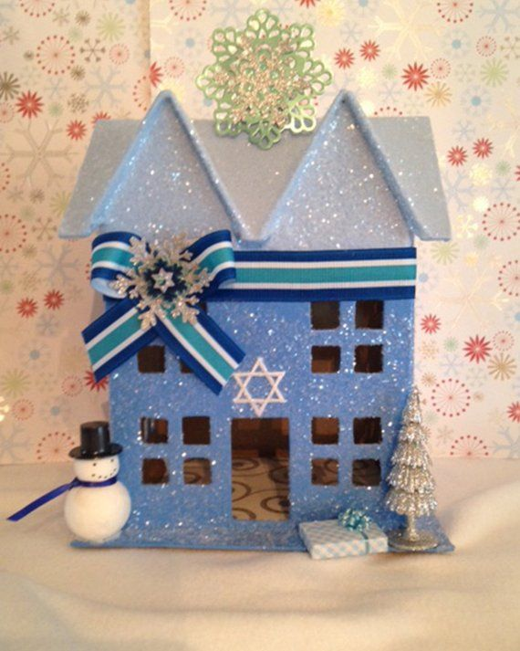 Hanukkah House Jewish Decor Decoration Star Of David Glitter Putz