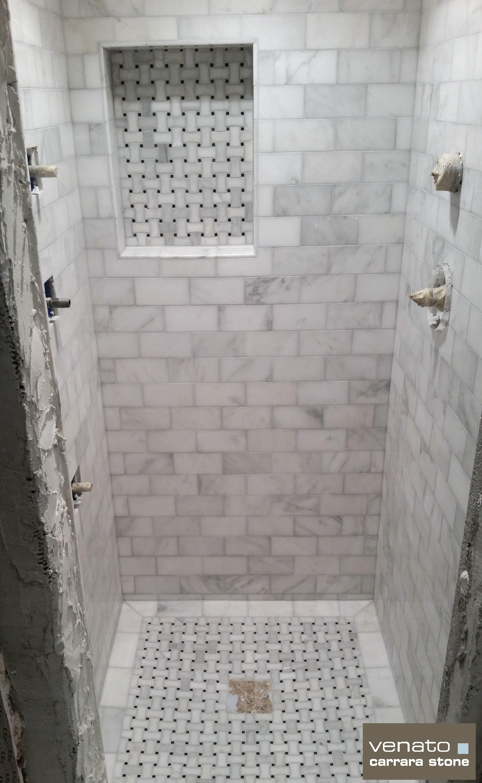 Carrara Venato Shower With Dogbone Basketweave Shower Floor