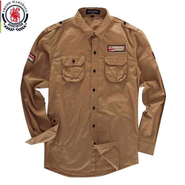 efb5c632d043 Fredd Marshall Men s Cargo Shirt 2018 New Casual Long Sleeve Embroidery  Solid Shirts Classic Military Shirt Army Green Khaki 115 Review
