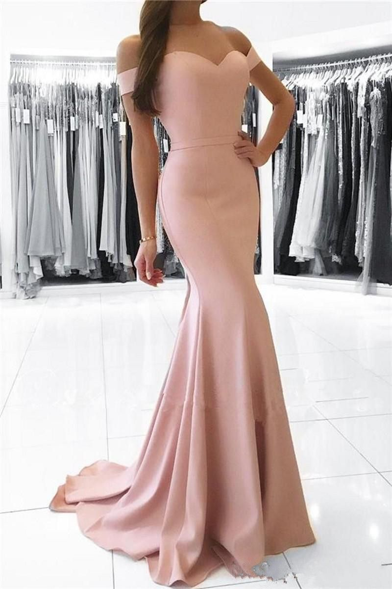 Mermaid offtheshoulder sweep train pearl pink prom dress with sash