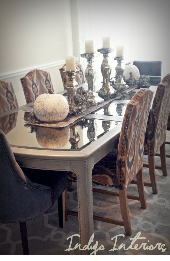 Mirrored Dining Room Table Metallic Silver And Mercury Glass Tablescape With White Pumpkins Dining Room Table Dining Room Centerpiece Dining Room Furniture