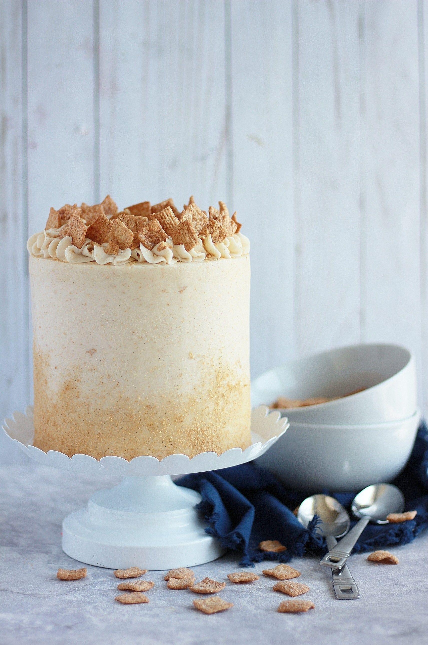Cinnamon toast crunch cake baking with blondie recipe