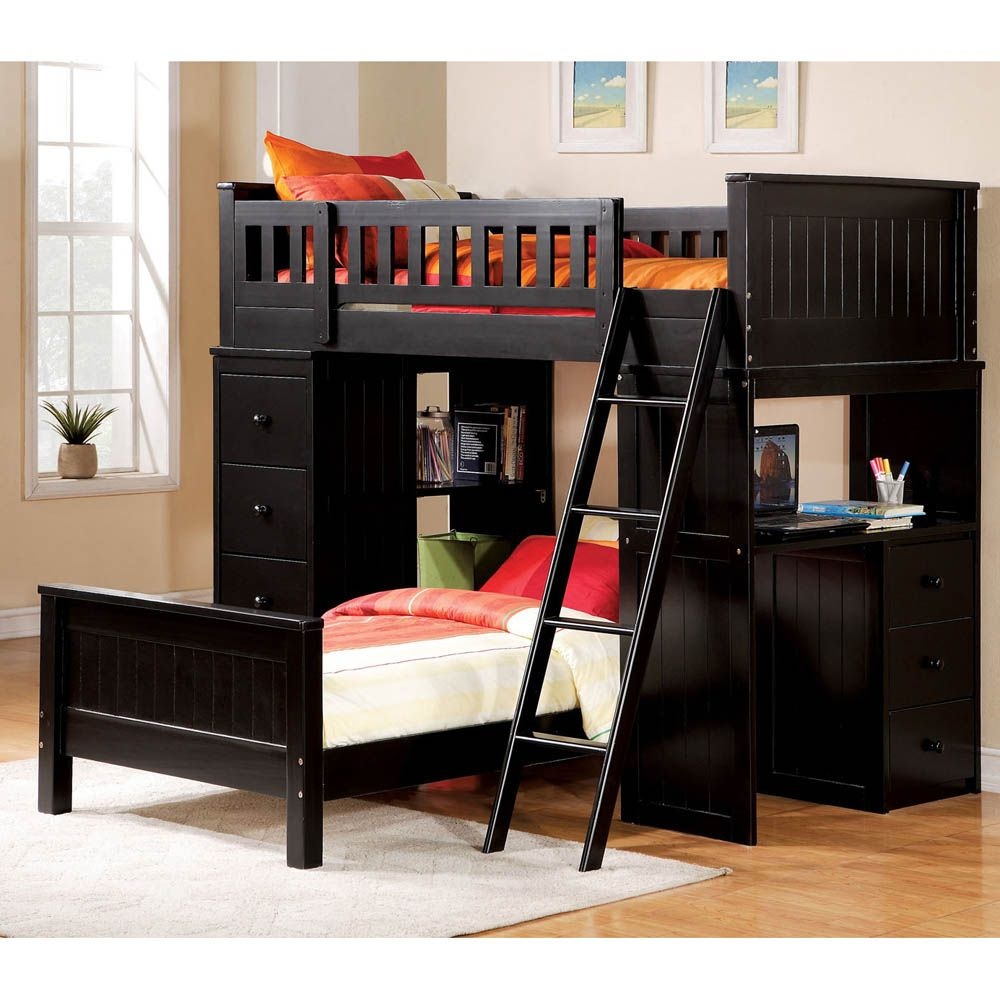Wooden loft bed with desk  Genius bunk bed design for your outstanding Kids Twin Bed ideas
