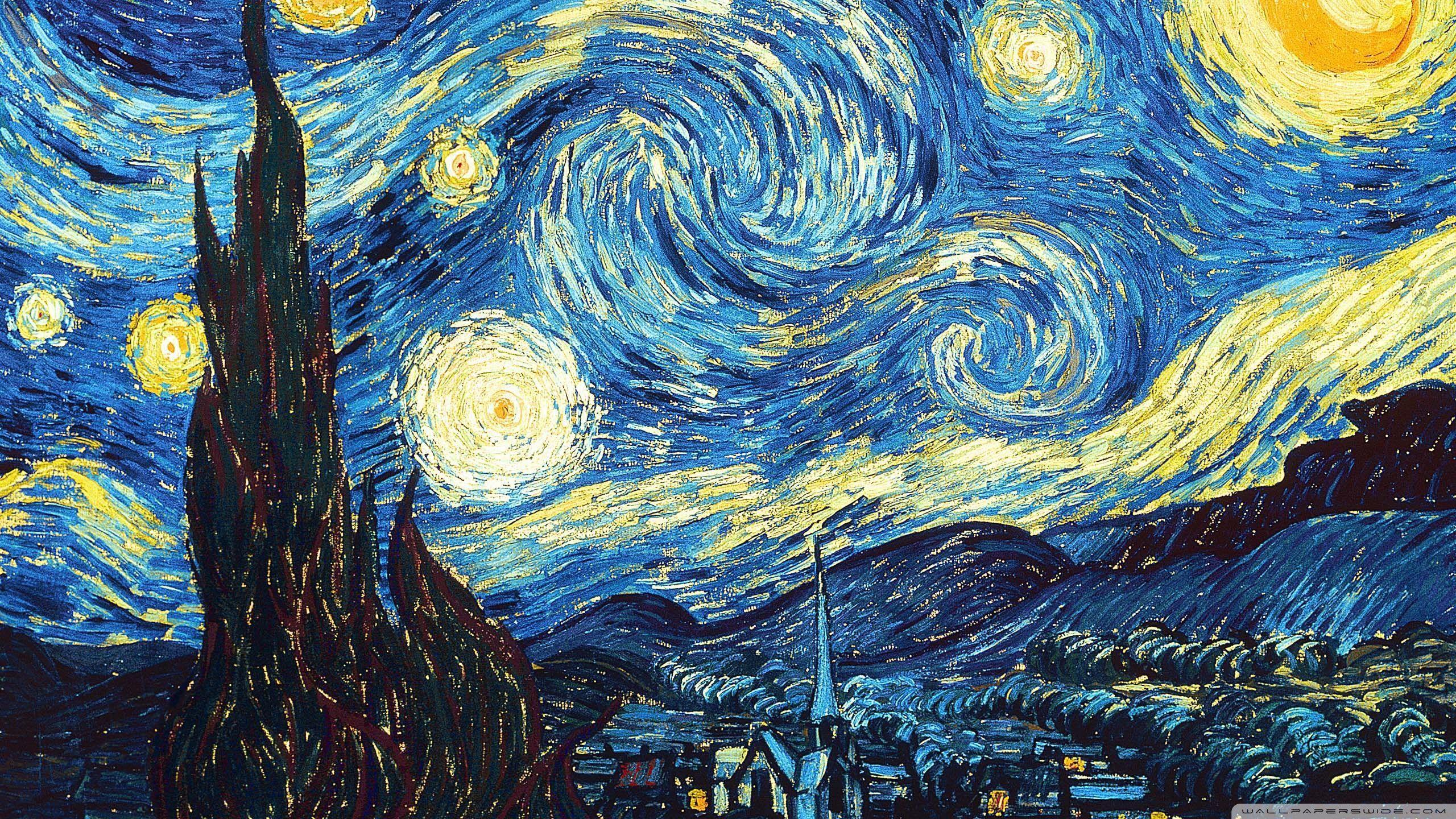 2560x1440 The Starry Night 4k Hd Desktop Wallpaper For 4k Ultra Hd Tv Starry Night Van Gogh Starry Night Wallpaper Van Gogh Paintings