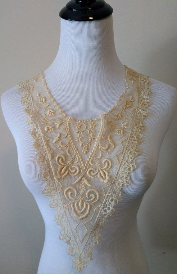 Lace, Crochet & Doilies Collars & Cuffs Antique Victorian Edwardian Embroidered Sheer Organdy Pleated Collar Yoke Lace