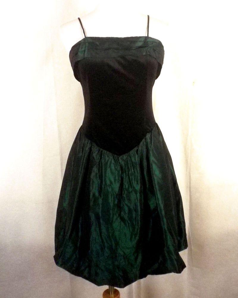 vtg 80s Jodi Michaels Goth Princess Metallic Emerald Green Prom Dress velvet  12P aa018cf69