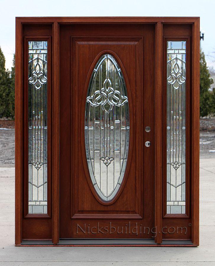 Exterior Mahogany Door With Sidelights Oval Glass Doors