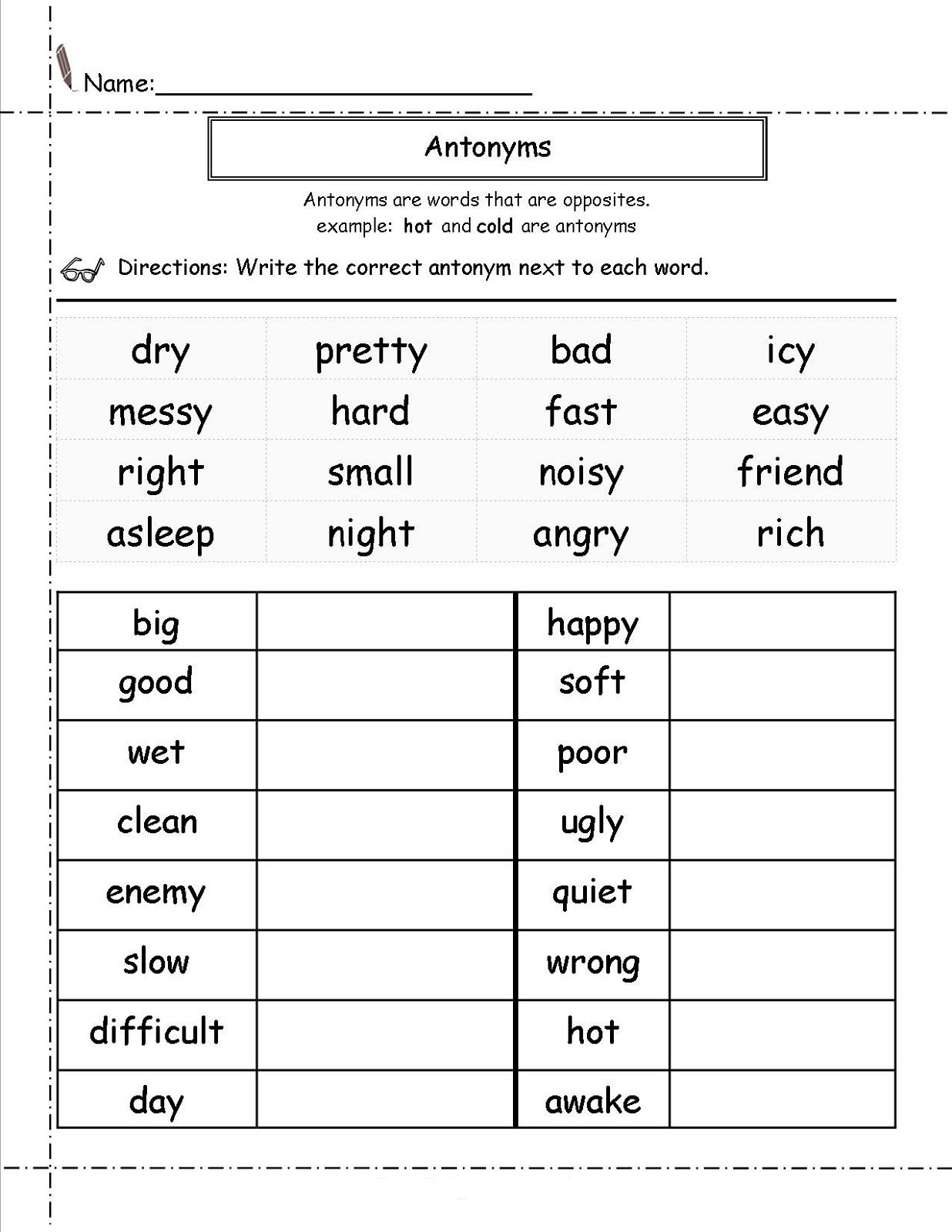 Second Grade Worksheets English Antonyms