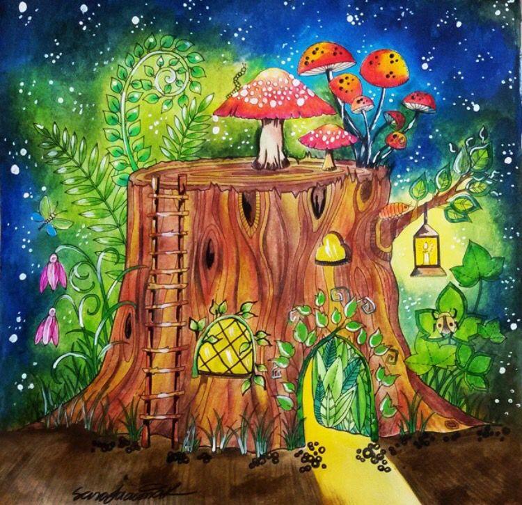 Enchanted Forest Tronco Floresta Encantada Johanna Basford BasfordEnchanted Coloring BookEnchanted