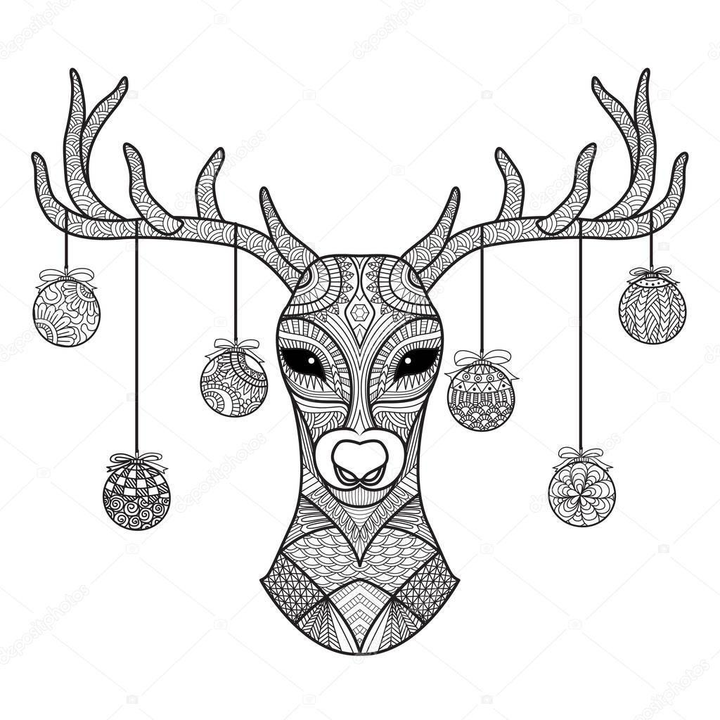Descargar - Cabeza de ciervo dibujado mano con bolas de Navidad ...