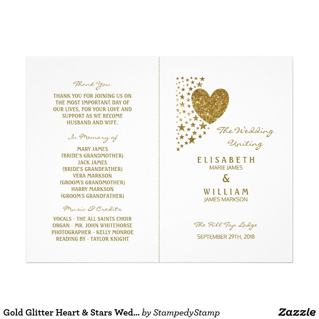 Wedding venue decorations ideas november 2018 Gold Glitter Heart u Stars Wedding Bifold Program Flyer  Wedding