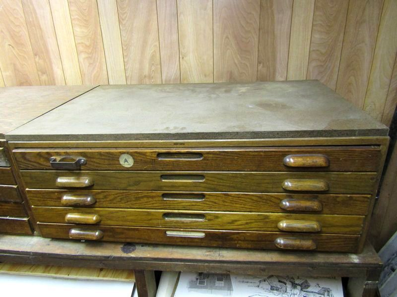 2 vintage oak hamilton wooden blueprint cabinets with inset side 2 vintage oak hamilton wooden blueprint cabinets with inset side panels and 10 drawers malvernweather Image collections