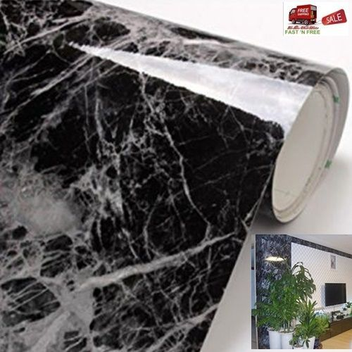Marble Vinyl Film Black Grey Wallpaper Adhesive Roll Decor