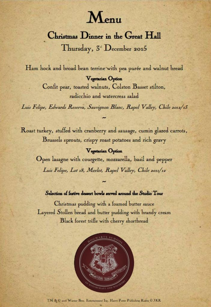 The menu for the Hogwarts feast The Wizarding World Pinterest