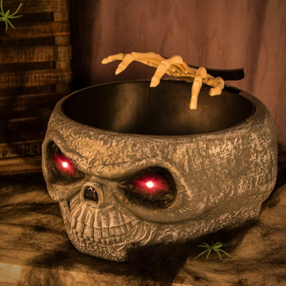 Scary Candy Bowl Skull Animated Hand LED Sound Halloween