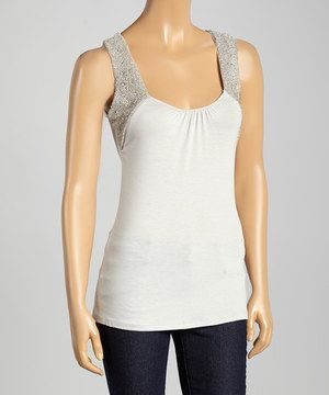 Another great find on #zulily! Silver Beaded Sleeveless Top by MIA MIA #zulilyfinds
