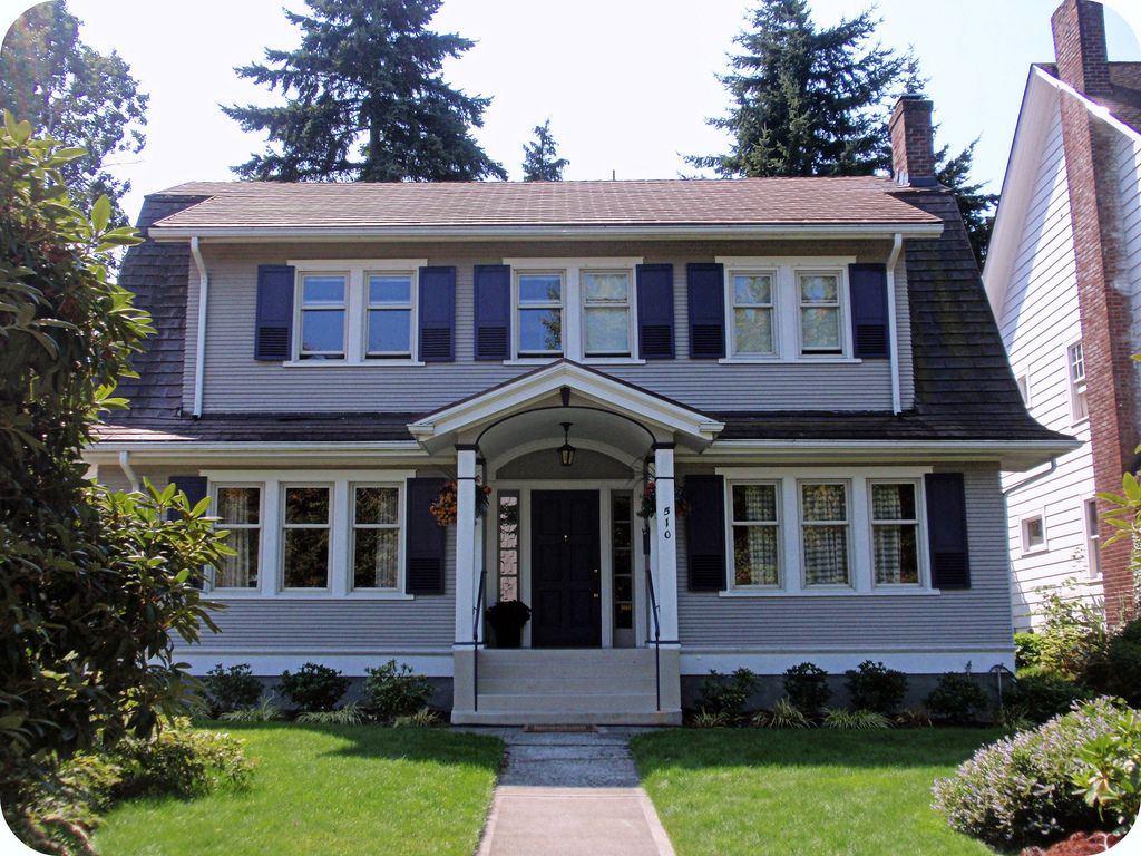 Gray Dutch Colonial Revival House In 2019 Dutch Colonial House