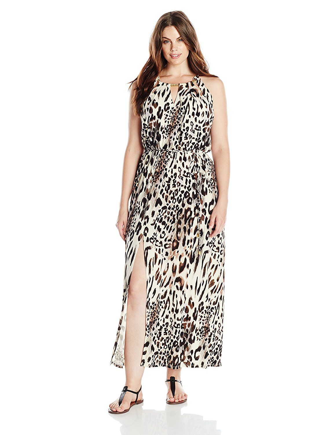 295c3b4c9d Sandra Darren Women s Plus-Size Sleeveless Animal Print Key Hole Maxi Dress      Find out more details by clicking the image   Plus size fashion