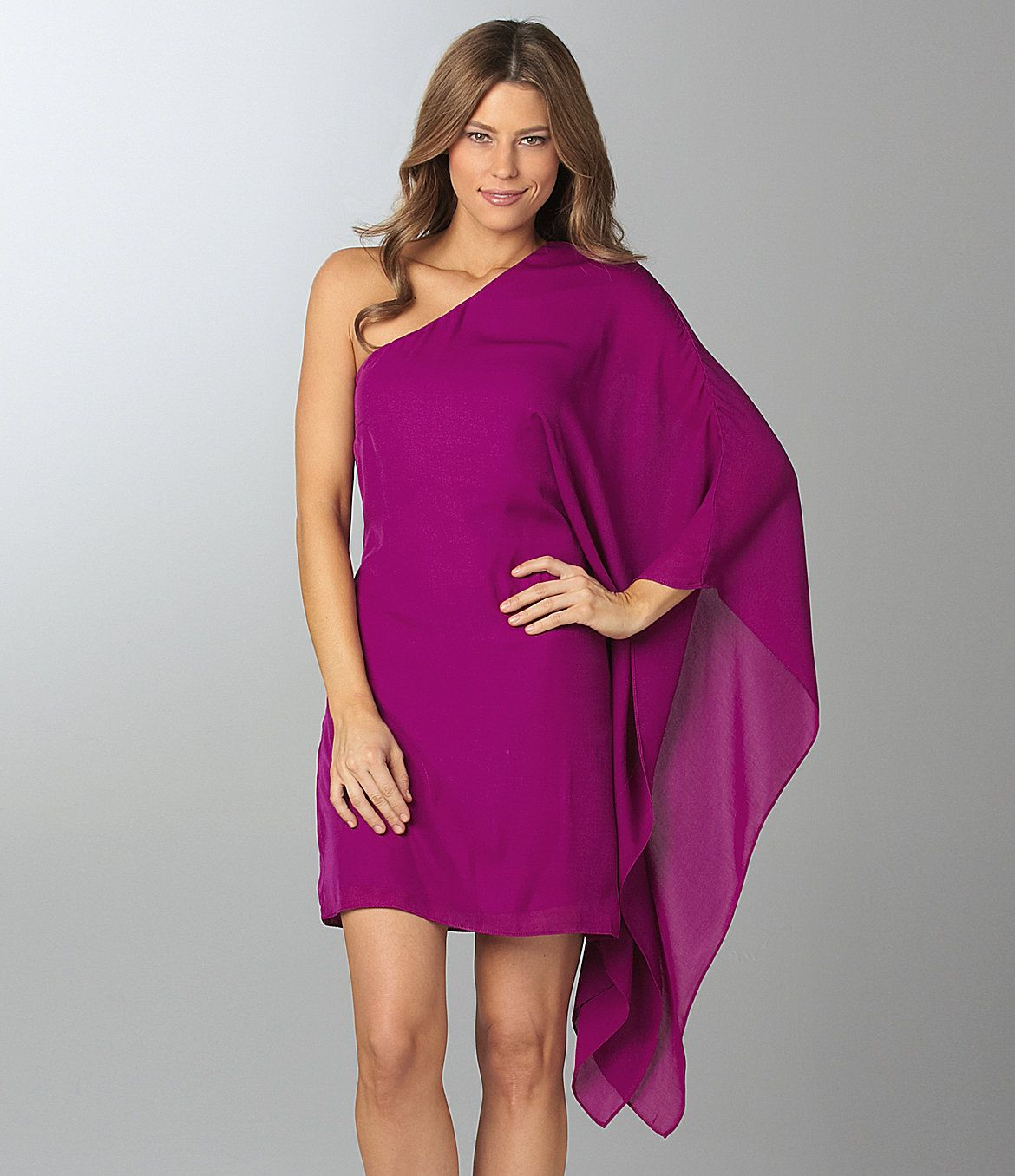 One Shoulder Cocktail Dress Purple