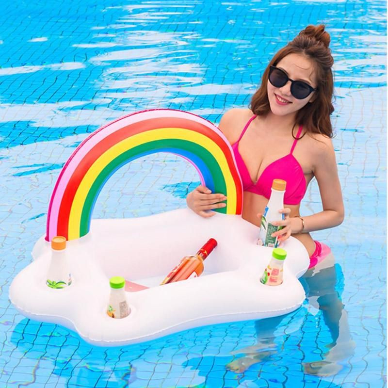 This Lovely Inflatable Rainbow Cloud Cup Holder Pool Floats Drink