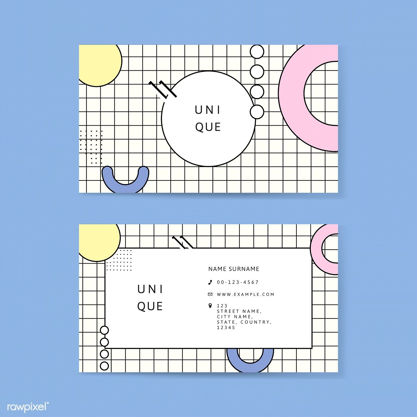 Download Premium Vector Of Neo Memphis Business Card Template Vector Graphic Design Business Card Business Card Layout Templates Business Cards Layout