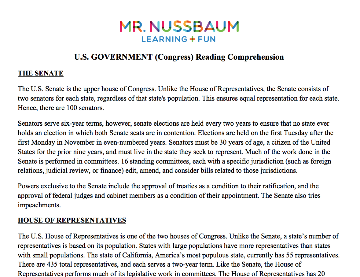 Legislative Branch Congress Printable Reading