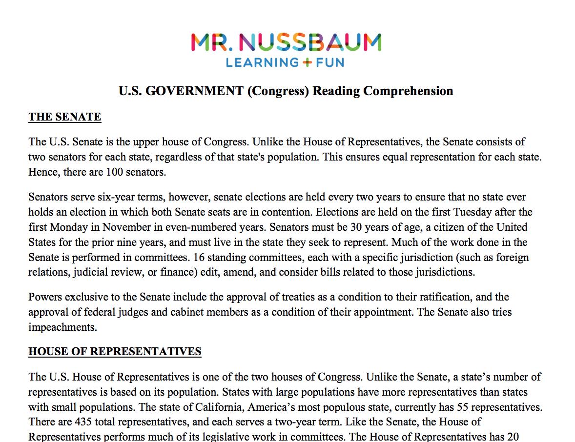 Legislative Branch (Congress) Printable Reading Comprehension