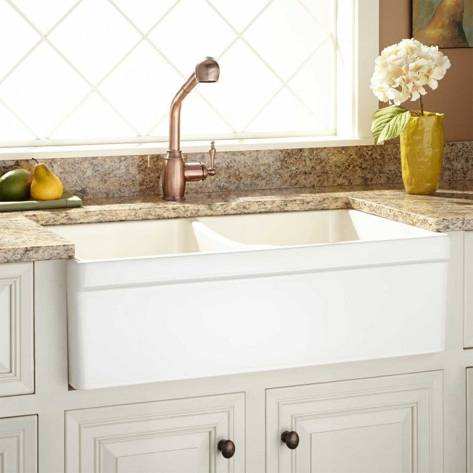 33 Fiammetta Double Bowl Fireclay Farmhouse Sink With Belted A Front Biscuit