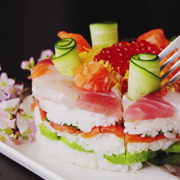 Salmon Birthday Cake: Celebration Sushi Cake